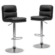 Glamour Home Decor Adjustable Height Swivel Bar Stool with Cushion (Set of 2)