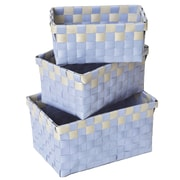 Evideco 3 Piece Checkered Woven Basket Set; Green and Gray