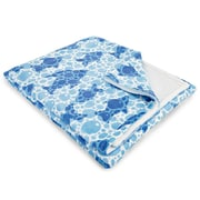 Island Girl Home Coastal Blue Fish Bubbles Fleece Throw Blanket