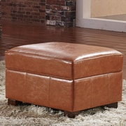 Bellasario Collection Elegant Storage Ottoman; Saddle Brown