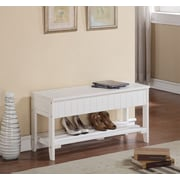 Roundhill Furniture Rennes Wood Storage Bench; White