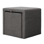 Madison Park Pisa Storage Cube Ottoman; Charcoal