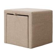Madison Park Pisa Storage Cube Ottoman; Linen