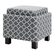 Madison Park Shelley Square Storage Cube Ottoman; Gray