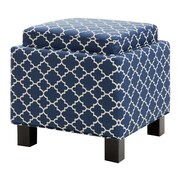 Madison Park Shelley Square Storage Cube Ottoman; Navy