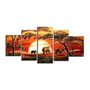 DesignArt African Landscape 5 Piece Original Painting on Canvas Set
