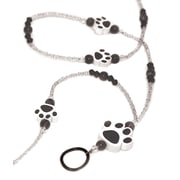 Ashley ASH10906 Beaded Lanyard with ID Holder, Black Paws, Black, 1 pack