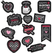 Chalk Valentine's Day Stickers, Black, Red & Pink, Pack of 60 (CTP4049)