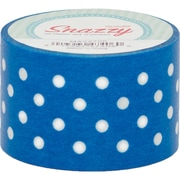 "DSS Distributive Snazzy Tape, White Polka Dot on Blue, 1.5"" x 13 yards, White & Blue/Polka Dot, Bundle of 6, (MAV4705)"