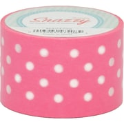 "DSS Distributing Snazzy Tape, White Polka Dot on Pink, 1.5"" x 13 Yards, White & Pink/Polka Dot, Bundle of 6 (MAV4708)"