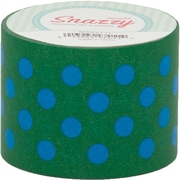 "DSS Distributing Snazzy Tape, Blue Polka Dot on Green, 1.5"" x 13 Yards, Blue & Green/Polka Dot, Bundle of 6 (MAV4711)"
