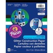"Pacon Corporation 9"" x 11-1/2"" Glitter Construction Paper, Assorted Colors (PAC1000083)"