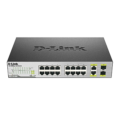 D-Link 18-Port Fast Ethernet PoE Switch with 2 Combo SFP Ports, (DES-1018MP)