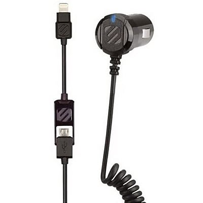 Scosche StrikeDrive Smart Car Charger 3' for Android devices, Smartphones, Tablets, E-readers, Black (I2MC12A)