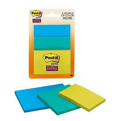 Post it Assorted Super Sticky Note 45 Sheets Pad Bora Bora Collection 3 Pads Pack 3432 SSAU