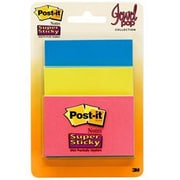 Post-it® Assorted Super Sticky Note, 45 Sheets/Pad, Jewel Pop Collection, 3 Pads/Pack (3432-SSAU)
