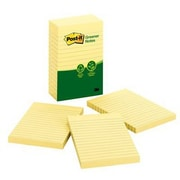 """Post-it® 4"""" x 6"""" Lined Greener Note, 100 Sheets/Pad, Canary Yellow, 5 Pads/Pack (660-5RP)"""