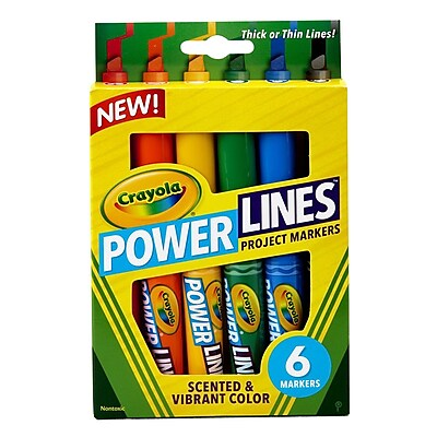 Crayola Power Lines Chisel Washable Project Marker with Scents, Assorted, 6/Pack (58-8195) 1852776