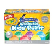 Crayola® Metallic Kids Paint Set, Non-Toxic, Washable, 2 oz., 6/Pack (54-5000)