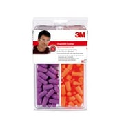 3M™ TEKK Protection™ Uncorded Disposable Earplug, Orange/Purple, 80 Pairs/Pack (92059-80025T)