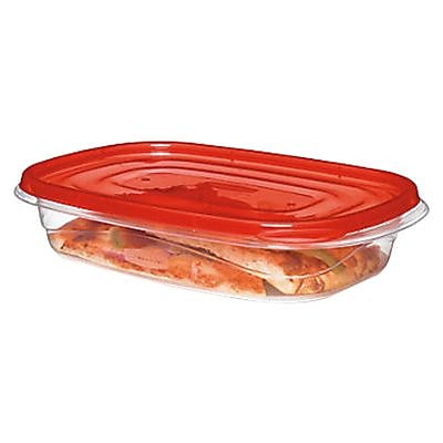 Rubbermaid TakeAlongs 3.7 Cups Clear Red Plastic Rectangular Food Storage Container 3 Pack FG7F57RETCHIL