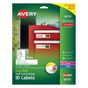 "Avery® Easy Align™ 1 1/32"" x 3 1/2"" Inkjet/Laser Self Laminating Permanent Adhesive ID Label, White, 50/Pack (00753)"