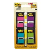 """Post-it® 1"""" x 1 3/4"""" Flags Value Pack with Highlighter, Assorted, 4/Pack (680-PPBGVA)"""