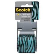 "Scotch® Decorative Shipping Packing Tape, Blue/Black Zebra, 1.88"" x 13.8 Yd."