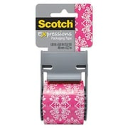 "Scotch® Decorative Shipping Packing Tape, Pink/White Baroque, 1.88"" x 13.8 Yd."