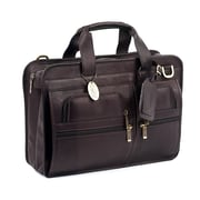 Claire Chase Slimline Executive Leather Laptop Briefcase; Caf
