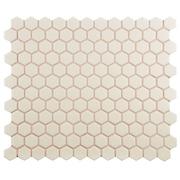 EliteTile New York 0.875'' x 0.875'' Hex Porcelain Unglazed Mosaic Tile in Antique White