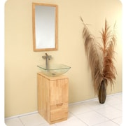 Fresca Stella 17'' Single Brilliante Modern Bathroom Vanity Set with Mirror; Natural Wood