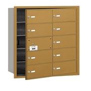 Salsbury Industries 4B+ Horizontal Mailbox 10 Doors Front Loading USPS Access ; Gold
