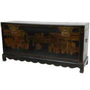 Oriental Furniture Daily Life Blanket Trunk; Black Lacquer