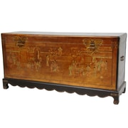 Oriental Furniture Daily Life Blanket Trunk; Gold Leaf Lacquer