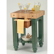 John Boos American Heritage Prep Table w/ Butcher Block Top; Basil Green by