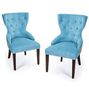 AdecoTrading Fabric Living Room Arm Chair (Set of 2); Blue