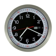 AdecoTrading 10.1'' Stainless Steel Round Wall Hanging Clock