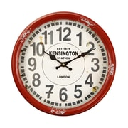 AdecoTrading 14.2'' Retro Round ''Kensington Station'' Wall Hanging Clock