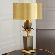 Global Views Egg and Palm 37.5'' H Table Lamp with Drum Shade; Brass / Bronze
