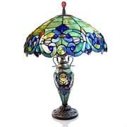 River of Goods Victorian Tiffany Style Stained Glass Double Lit 26'' Table Lamp