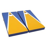 Victory Tailgate Matching Triangle Cornhole Bean Bag Toss Game; Gold and Light Blue