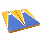 Victory Tailgate Matching Triangle Cornhole Bean Bag Toss Game; Light Blue and Gold