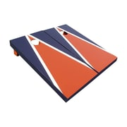 Victory Tailgate Matching Triangle Cornhole Bean Bag Toss Game; Orange and Blue with White Stripes