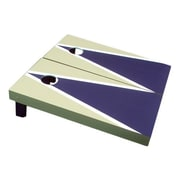 Victory Tailgate Matching Triangle Cornhole Bean Bag Toss Game; Navy Blue and Light Gold