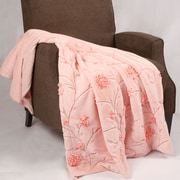 BOON Throw & Blanket Embroidered Ribbon Faux Fur Throw; Light Pink