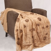 BOON Throw & Blanket Embroidered Ribbon Faux Fur Throw; Light Camel