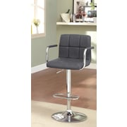 Hokku Designs Goldmember Adjustable Height Swivel Bar Stool with Cushion; Gray