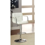 Hokku Designs Goldmember Adjustable Height Swivel Bar Stool with Cushion; White