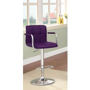 Hokku Designs Goldmember Adjustable Height Swivel Bar Stool with Cushion; Purple